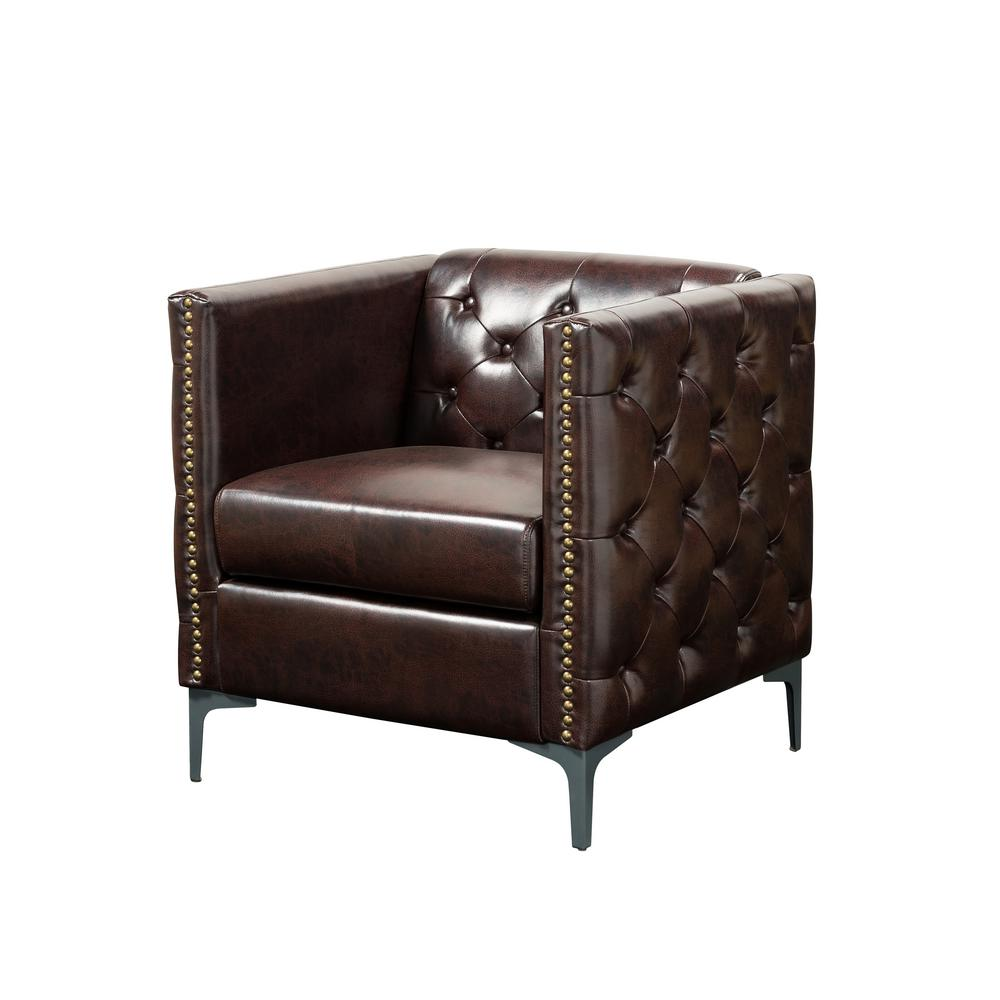Accent Chairs To Go With Brown Leather Sofa Furniture Of America Adner Brown Leather Tufted Accent Chair