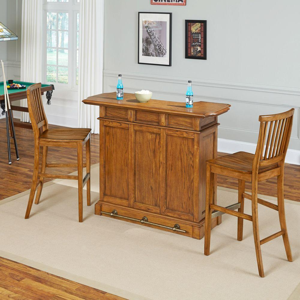 Home Bar Furniture Home Styles Americana 3 Piece Oak Bar Table Set