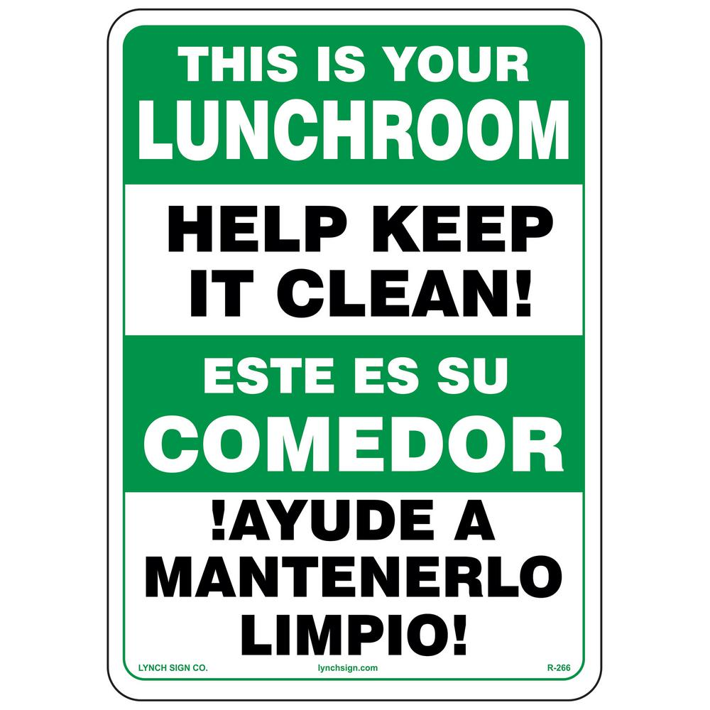 Keep It Clean Lynch Sign 10 In X 14 In Keep Lunchroom Clean Sign Printed On More Durable Longer Lasting Thicker Styrene Plastic