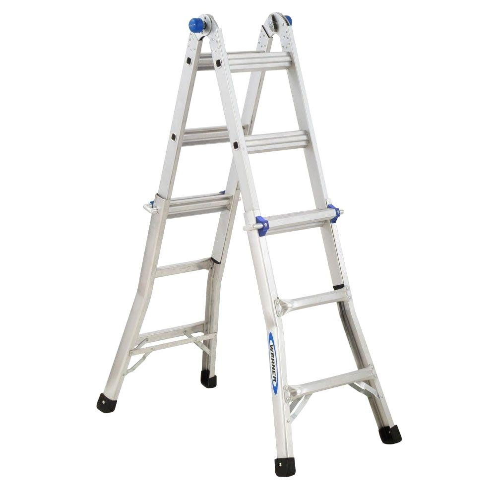 Werner Multiposition Ladder Multi Position Ft Aluminum Lb Werner 14 Ft. Reach Aluminum Telescoping Multi-position