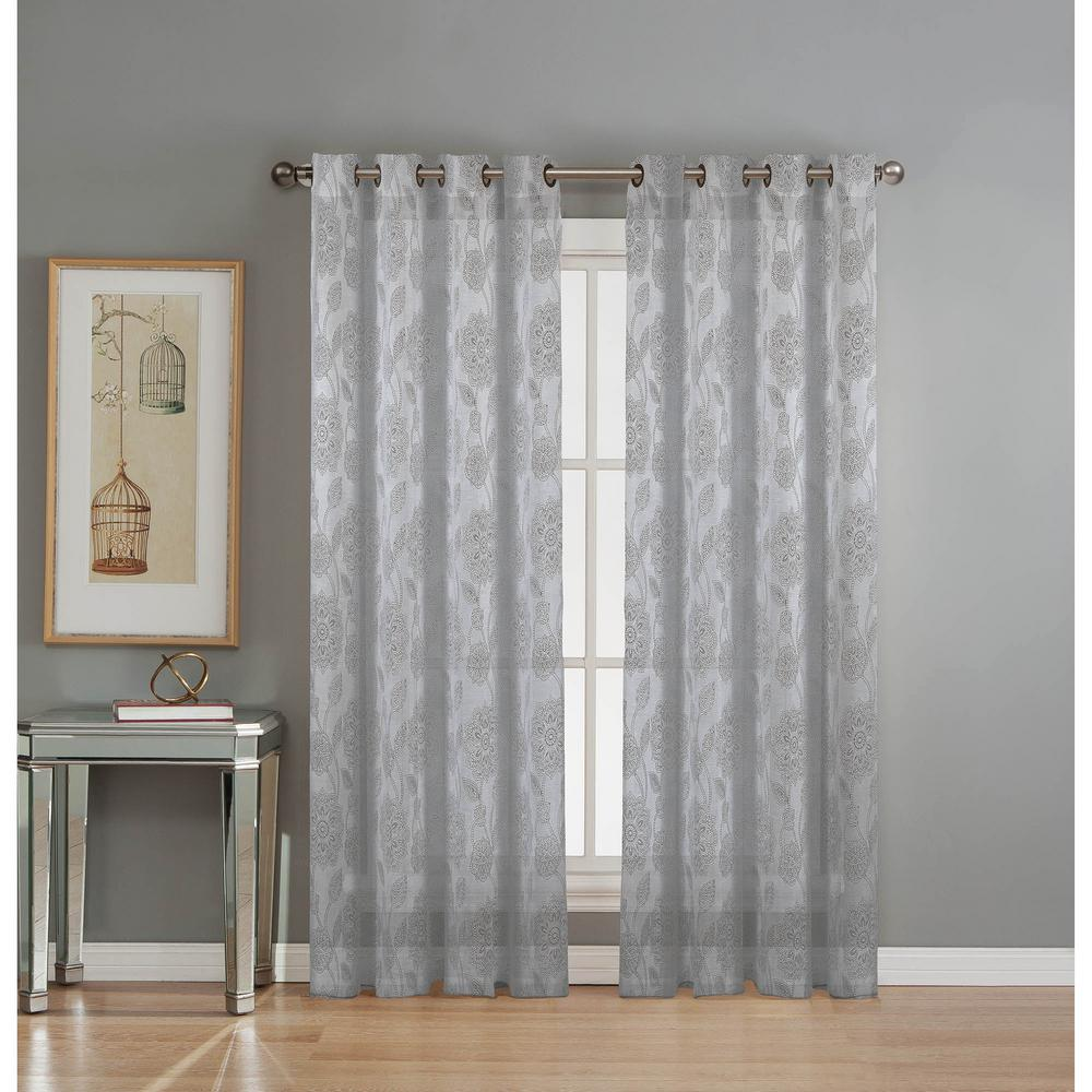 Cotton Curtain Panels Window Elements Sheer Avery Cotton Blend Burnout Sheer Extra Wide 84 In L Grommet Curtain Panel Pair Silver Set Of 2