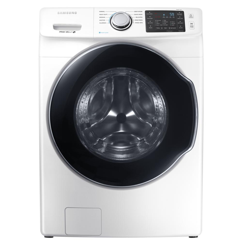 Samsung Front Load Washer Samsung 4 5 Cu Ft High Efficiency Front Load Washer With Steam In White Energy Star