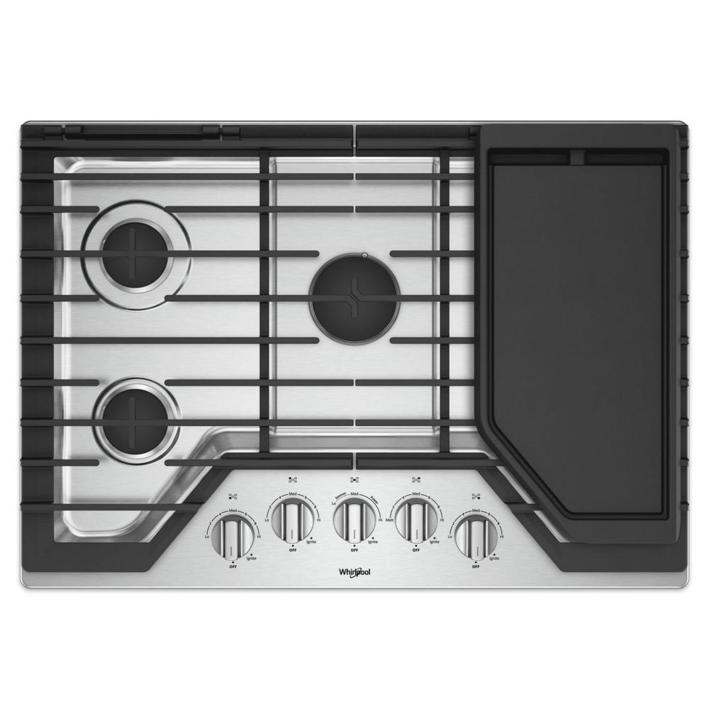 Whirlpool Countertop Stove Whirlpool 30 In Gas Cooktop In Stainless Steel With 5 Burners And Griddle