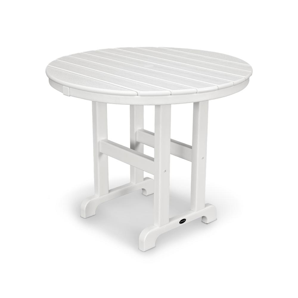 Round Plastic Tables Polywood La Casa Cafe 36 In White Round Plastic Outdoor Patio Dining Table