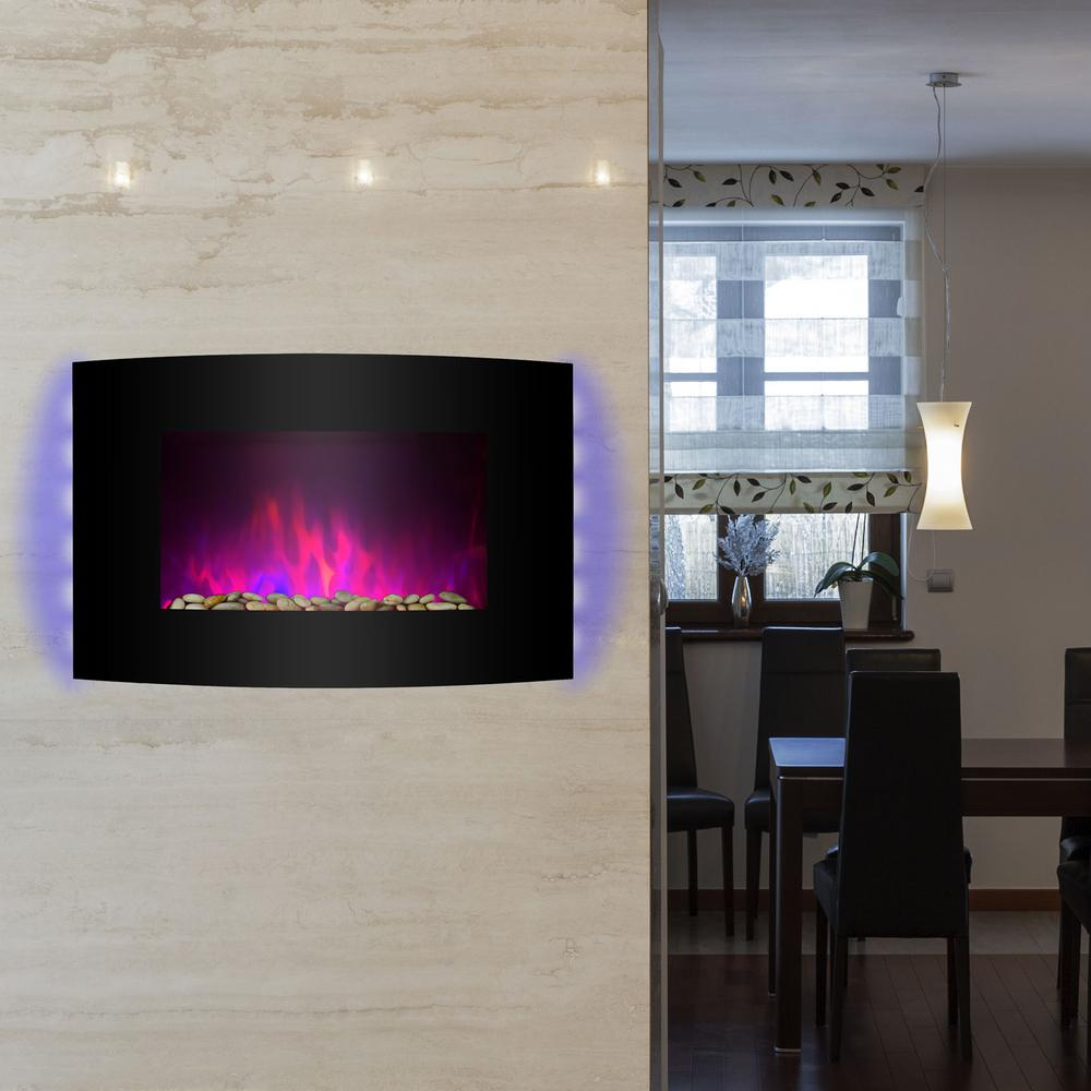 Curved Electric Fireplace Akdy 36 In Wall Mount Electric Fireplace Heater In Black With Curved Tempered Glass Pebbles Logs And Remote Control