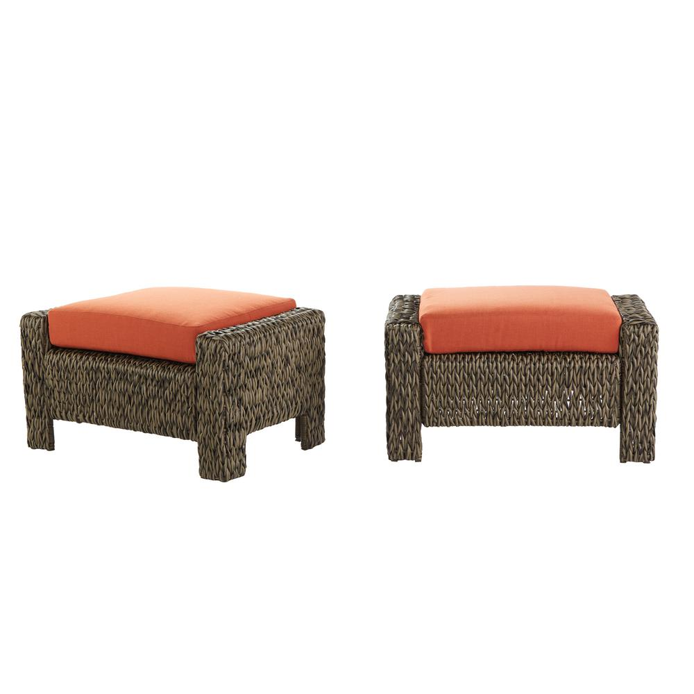 Wicker Ottoman Hampton Bay Laguna Point Brown All Weather Wicker Outdoor Ottoman With Quarry Red Cushion 2 Pack