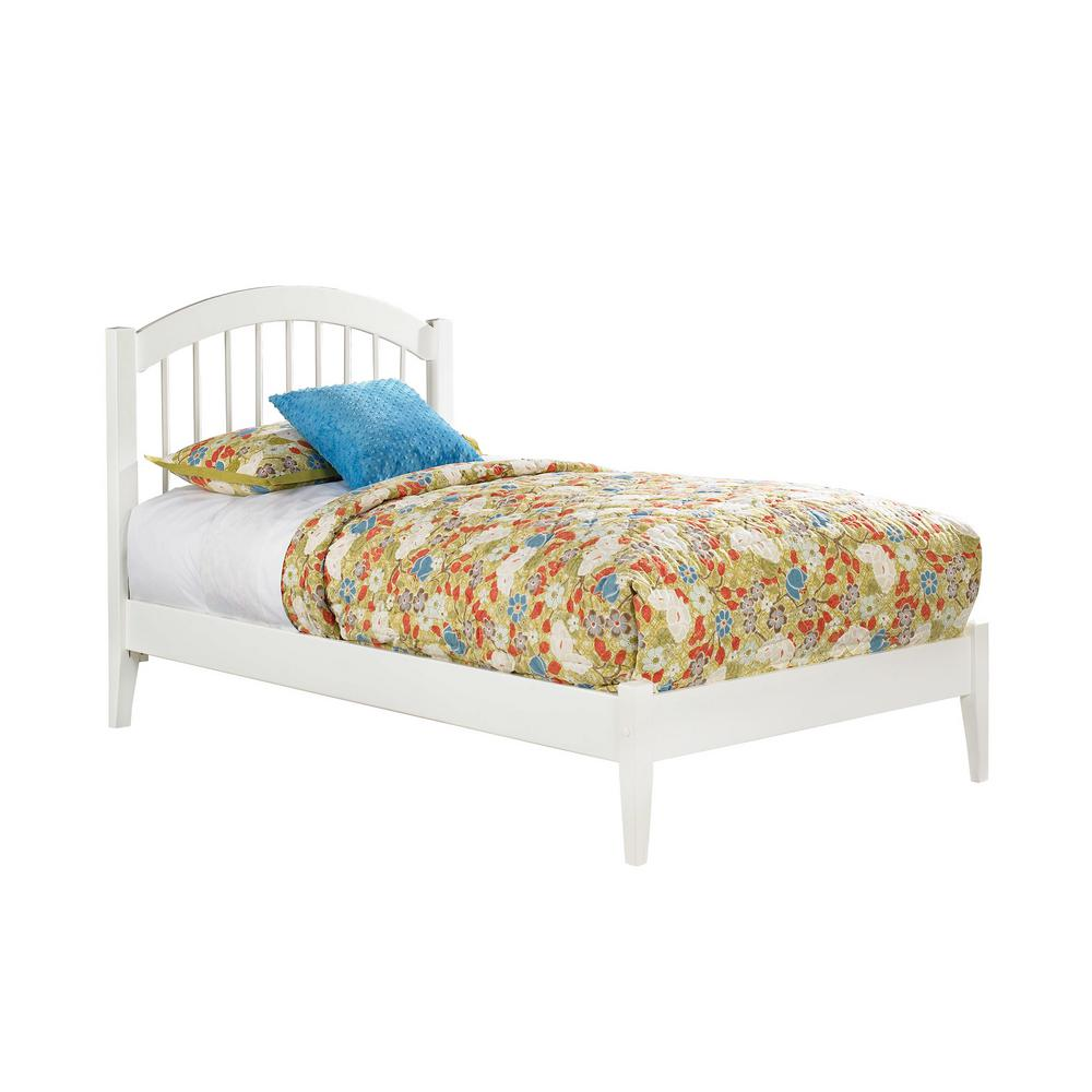 White Platform Bed Without Headboard Windsor Twin Platform Bed With Open Foot Board In White