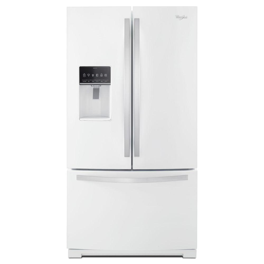 Whirlpool 36 in w 27 cu ft french door refrigerator in white ice