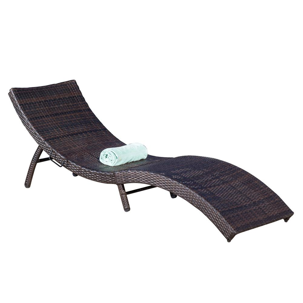 Chaise Longue Acapulco Noble House Acapulco Multi Brown 1 Piece Wicker Outdoor Chaise Lounge