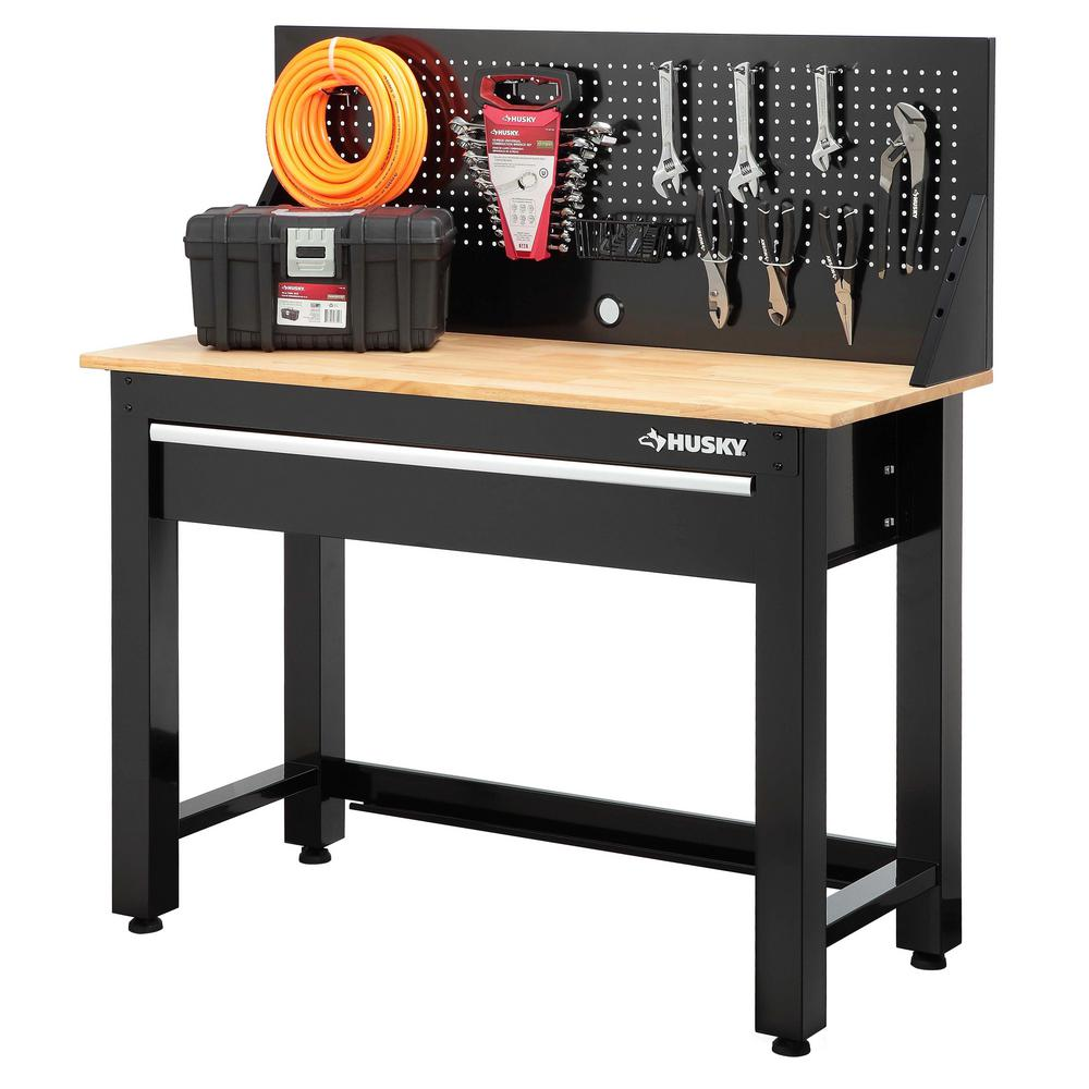 Maximum Heavy Duty Workbench Husky 4 Ft Solid Wood Top Workbench With Storage