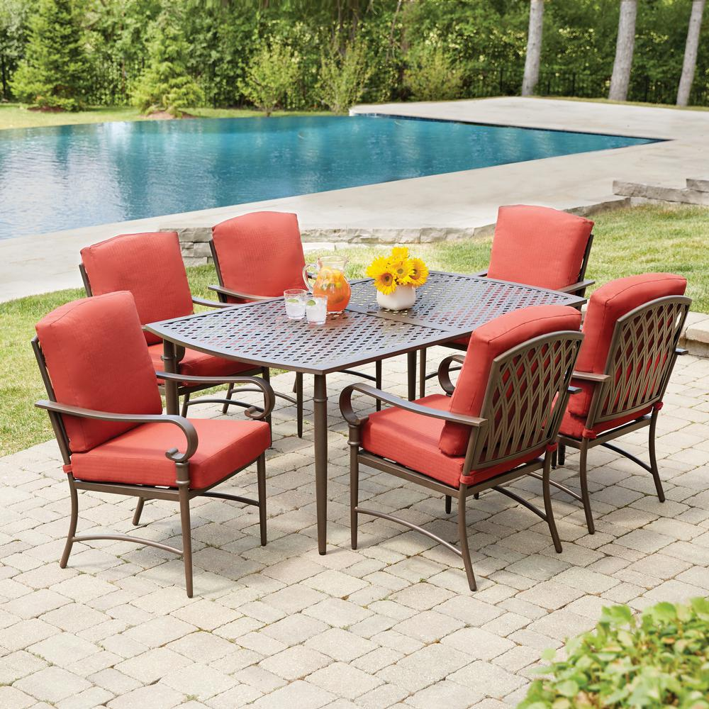 Patio Outdoor Hampton Bay Oak Cliff 7 Piece Metal Outdoor Dining Set With 6 Stationary Chairs And Chili Cushions