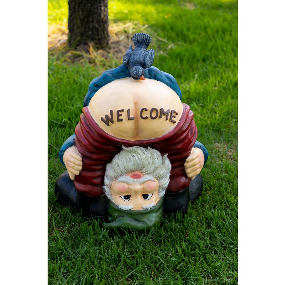 Welcome Statues Garden Alpine Corporation Mooning Welcome Gnome With Bird Statue