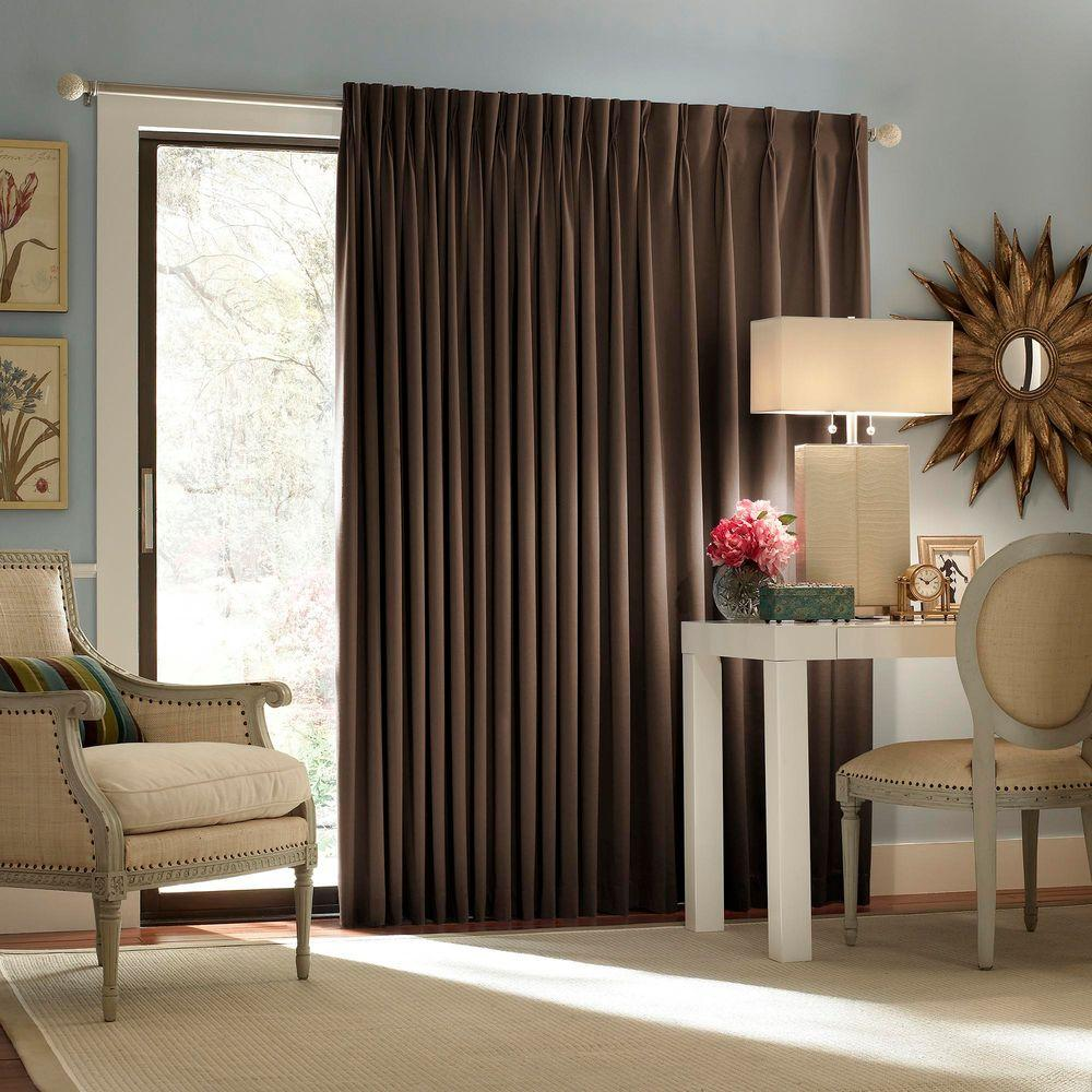 Sliding Door Curtain Eclipse Thermal Blackout Patio Door Curtain Panel In Espresso 100 In W X 84 In L