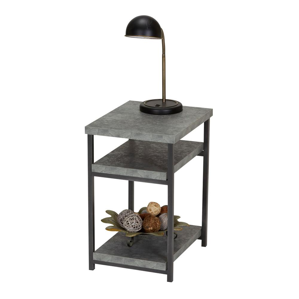 Coffee And End Tables With Storage Household Essentials Gray Slate Faux Concrete Coffee Table With Storage Shelf