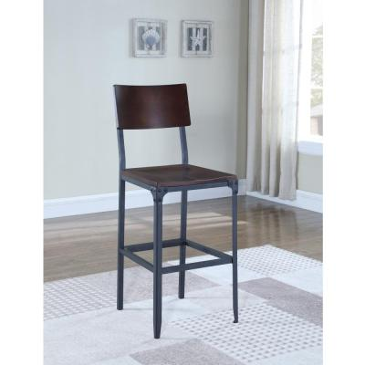 American Woodcrafters Austin 29 in. Matte Black Industrial Style Bar Stool-B1-834-29W - The Home ...