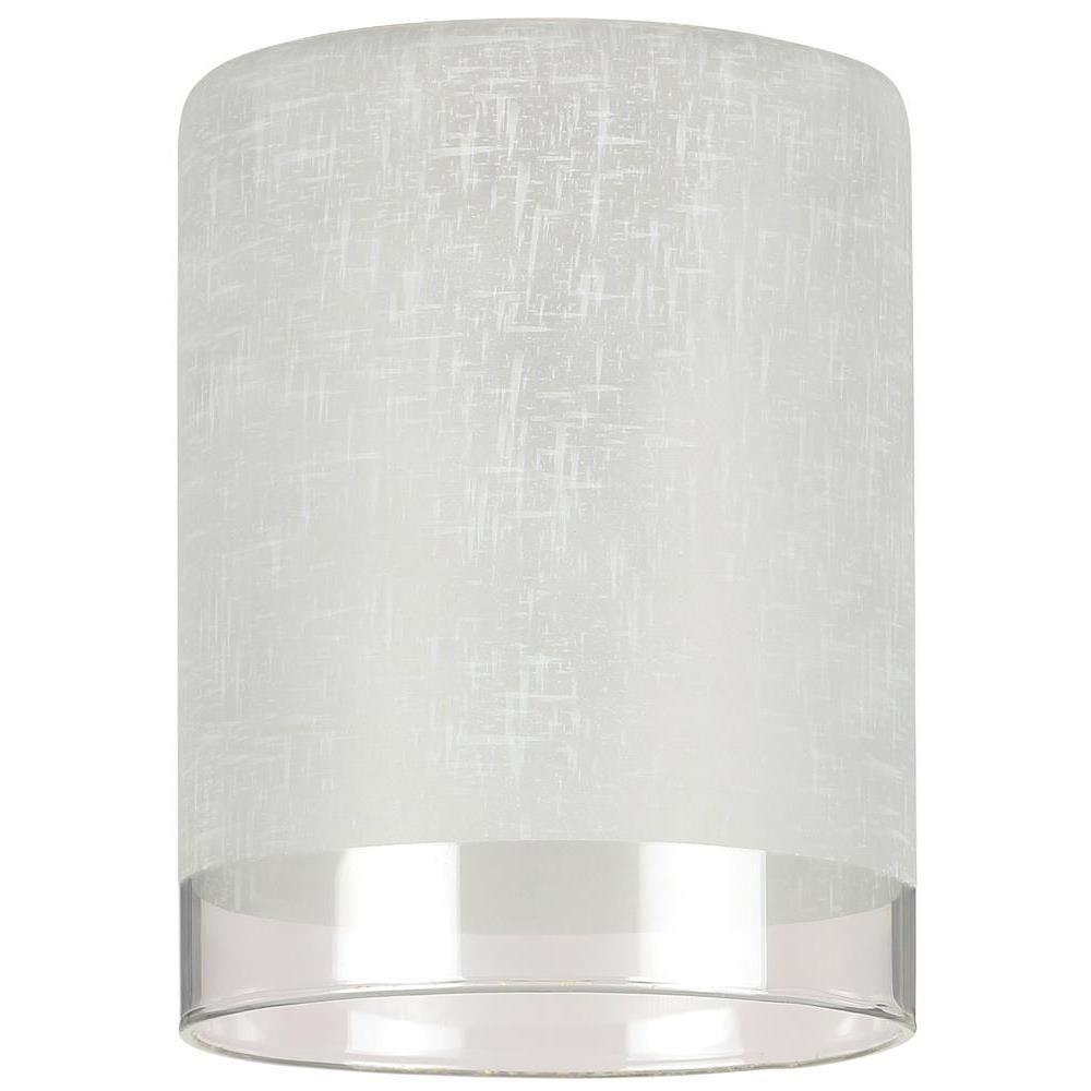 Ceiling Light Covers 5 1 8 In Hand Blown White Linen Cylinder Shade With Translucent Band With 2 1 4 In Fitter And 3 15 16 In Width