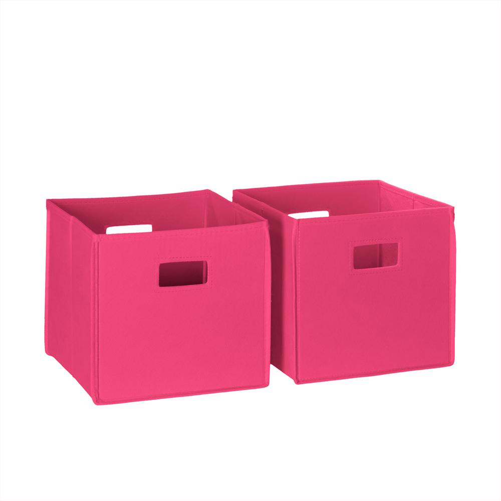 Pink Bins Riverridge Home 10 5 In W X 10 In H Hot Pink Folding Storage Bin Set 2 Pack