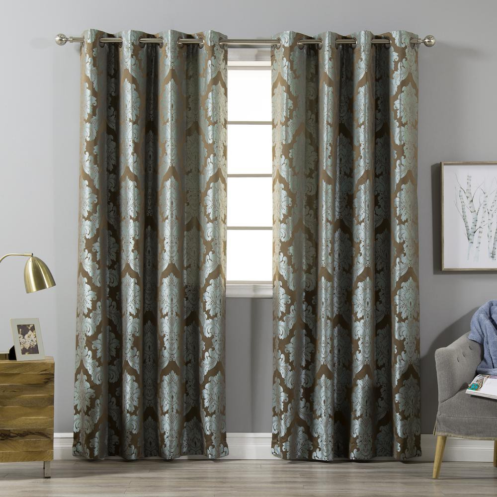 Jacquard Curtains Best Home Fashion 84 In L Polyester Damask Jacquard Leaf Print Wide Curtains In Turquoise 2 Pack