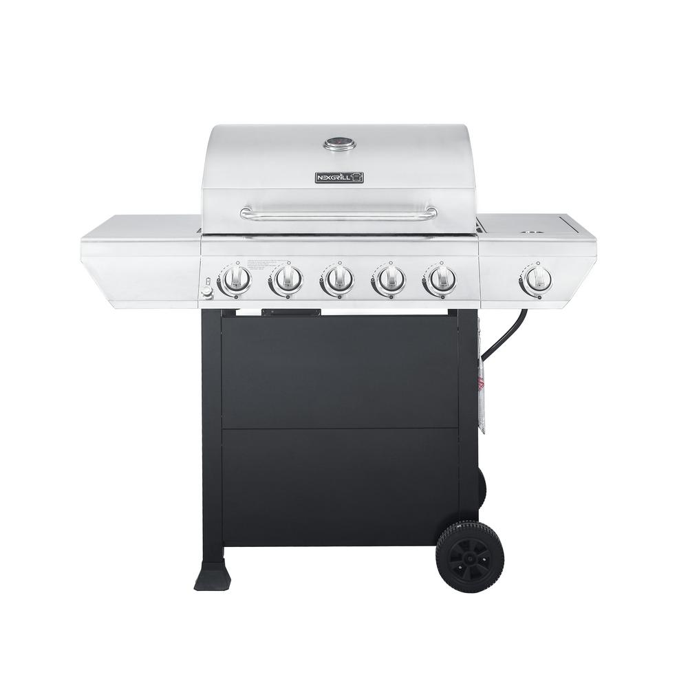 Gasgrill Seattle 5 Burner Propane Gas Grill In Stainless Steel With Side Burner And Black Cabinet