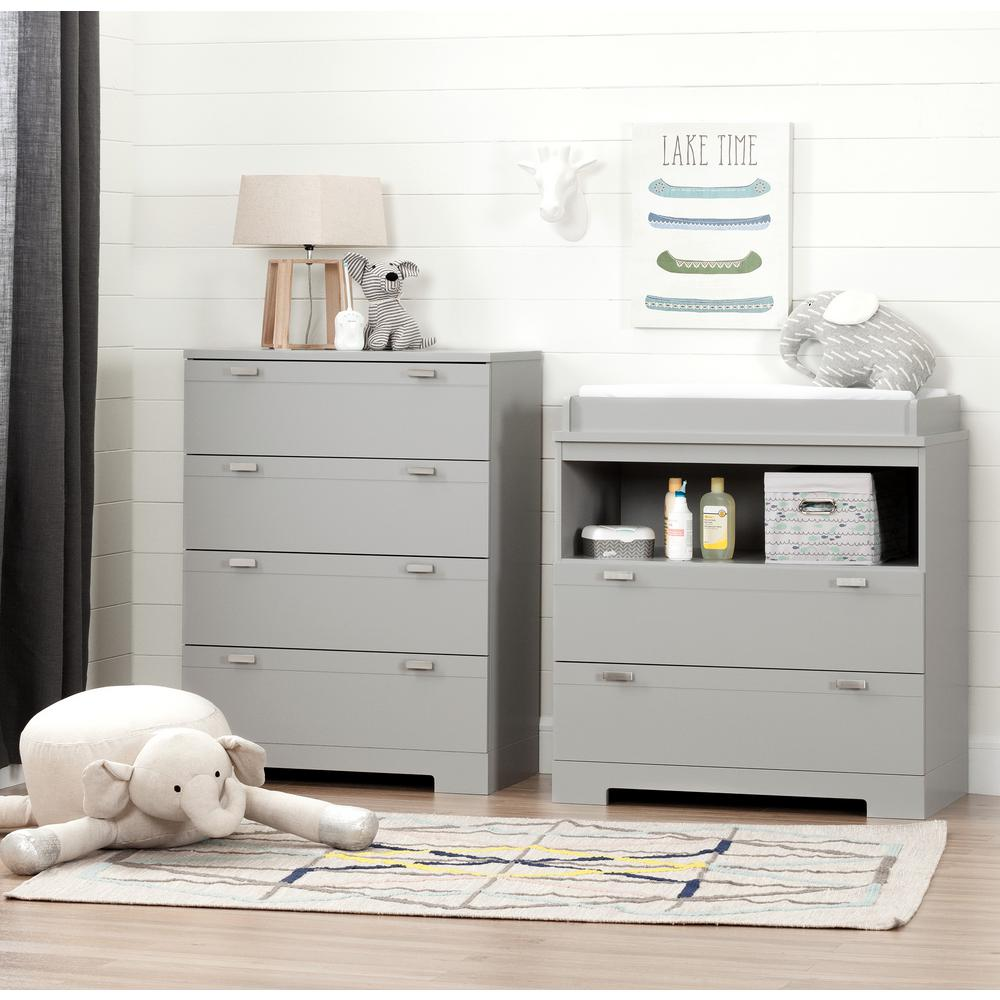 Changing Table Chest Of Drawers South Shore Reevo Changing Table And 4 Drawer Soft Gray Chest Set