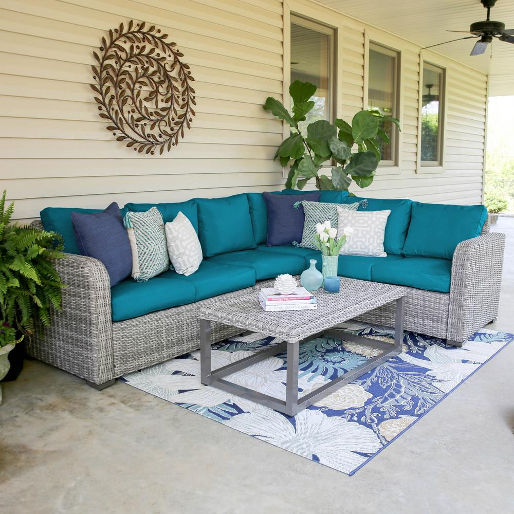 Peacock Living Room Leisure Made Forsyth 5 Piece Wicker Outdoor Sectional Set With Peacock Cushions