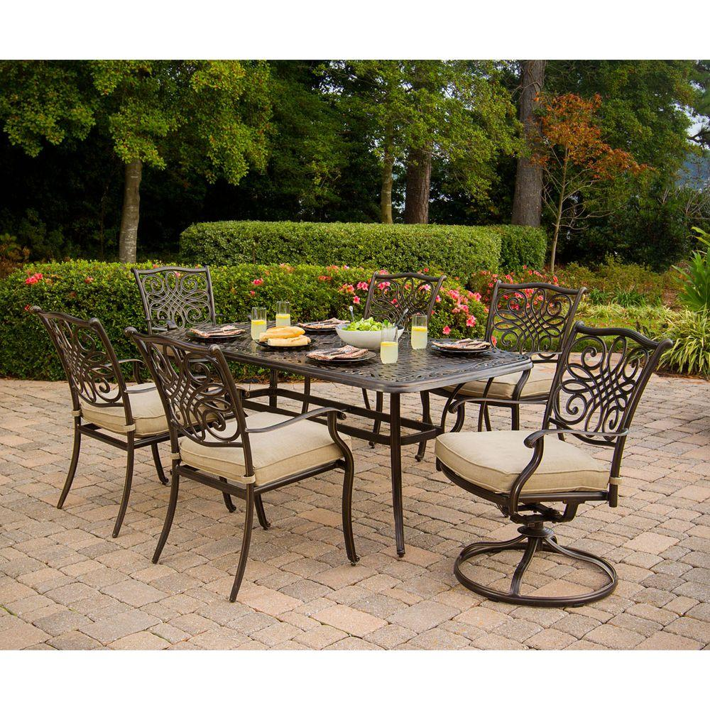 Round Table Patio Furniture Sets Hanover Traditions 7 Piece Patio Outdoor Dining Set With 4 Dining Chairs 2 Swivel Chairs And 38 In X 72 In Table