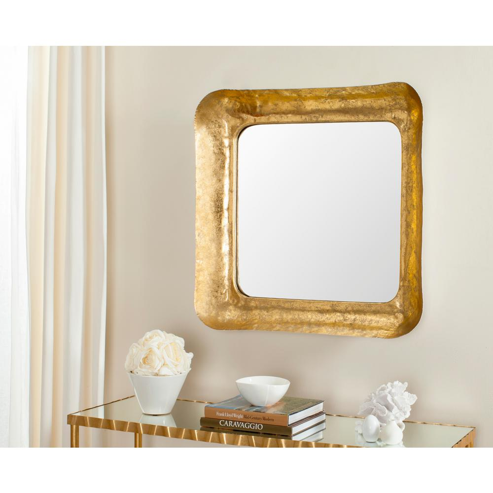 Decorative Mirror Safavieh Geri Square Gold White Iron Decorative Mirror
