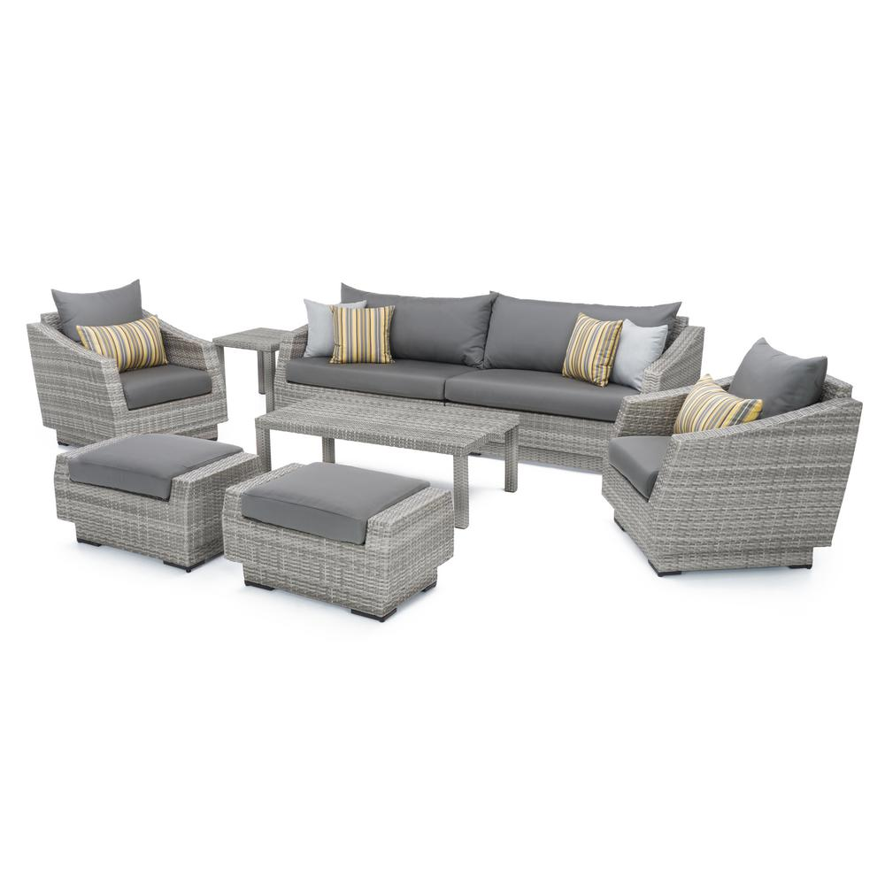 Grey Sofa Rst Brands Cannes 8 Piece All Weather Wicker Patio Sofa And Club Chair Seating Group With Sunbrella Charcoal Grey Cushions
