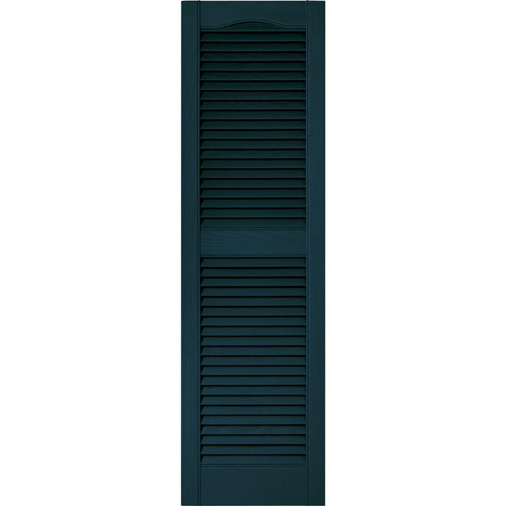 Exterior 002 Rectangle Wood Black X 75 In Louvered Vinyl Shutters Pair 15 In Window Treatments Hardware Shutter Hardware
