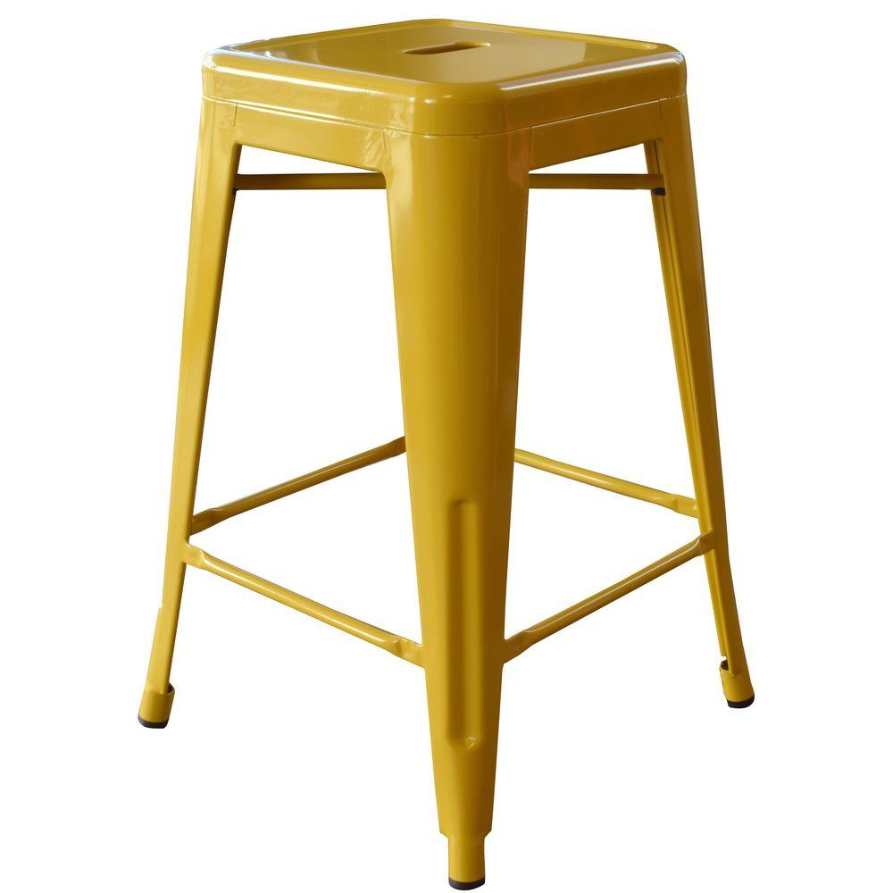 Metal Stools Loft Style 24 In Stackable Metal Bar Stool In Gold