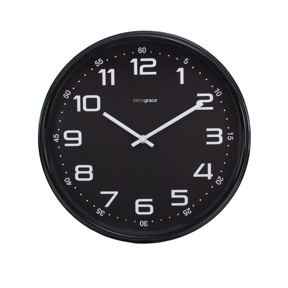 Black Wall Clock 4 Pack Max Wall Clock 14 In 2 5 In D Black