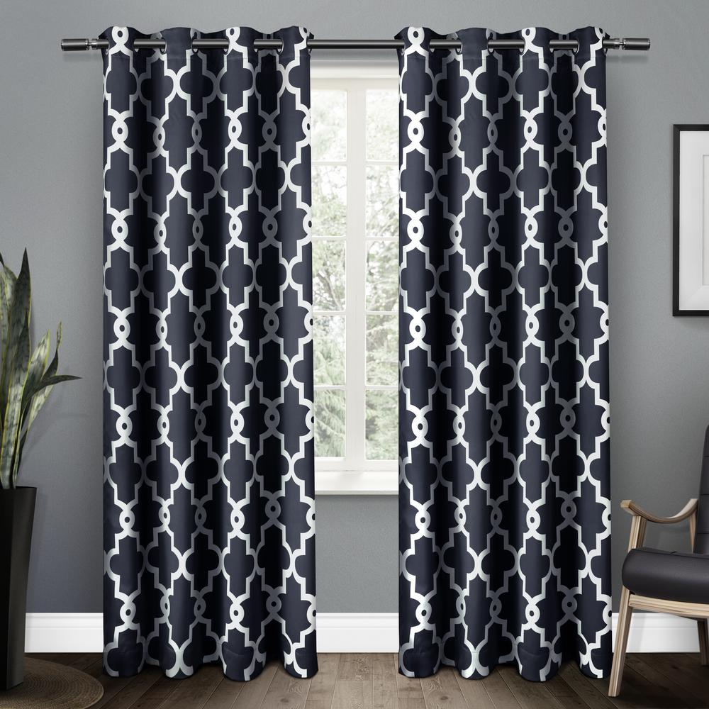 Black And White Chevron Blackout Curtains Exclusive Home Curtains Ironwork 52 In W X 63 In L Woven Blackout Grommet Top Curtain Panel In Silver 2 Panels