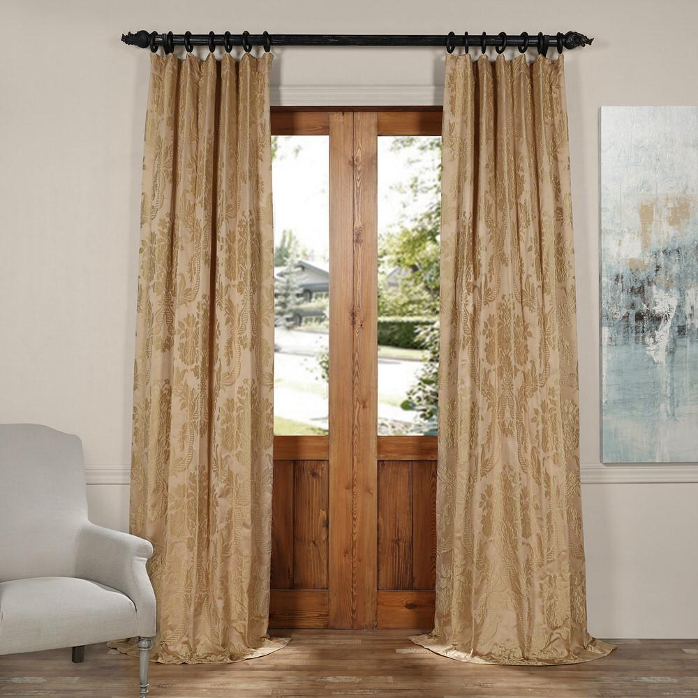 Jacquard Curtains Exclusive Fabrics Furnishings Magdelena Beige And Gold Faux Silk Jacquard Curtain Panel 50 In W X 120 In L