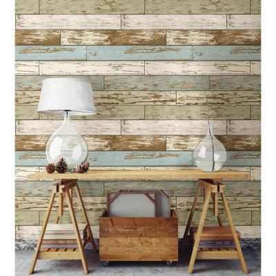 NuWallpaper Multi Color Old Salem Vintage Wood Peel and Stick Wallpaper-NU2188 - The Home Depot