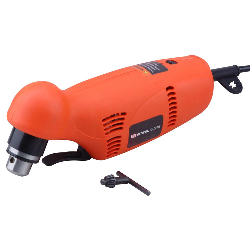 Angle Reversible Steel Core 3 8 Amp Corded 3 8 In Electric Power Drill With Variable Reversible Close Quarters Angle