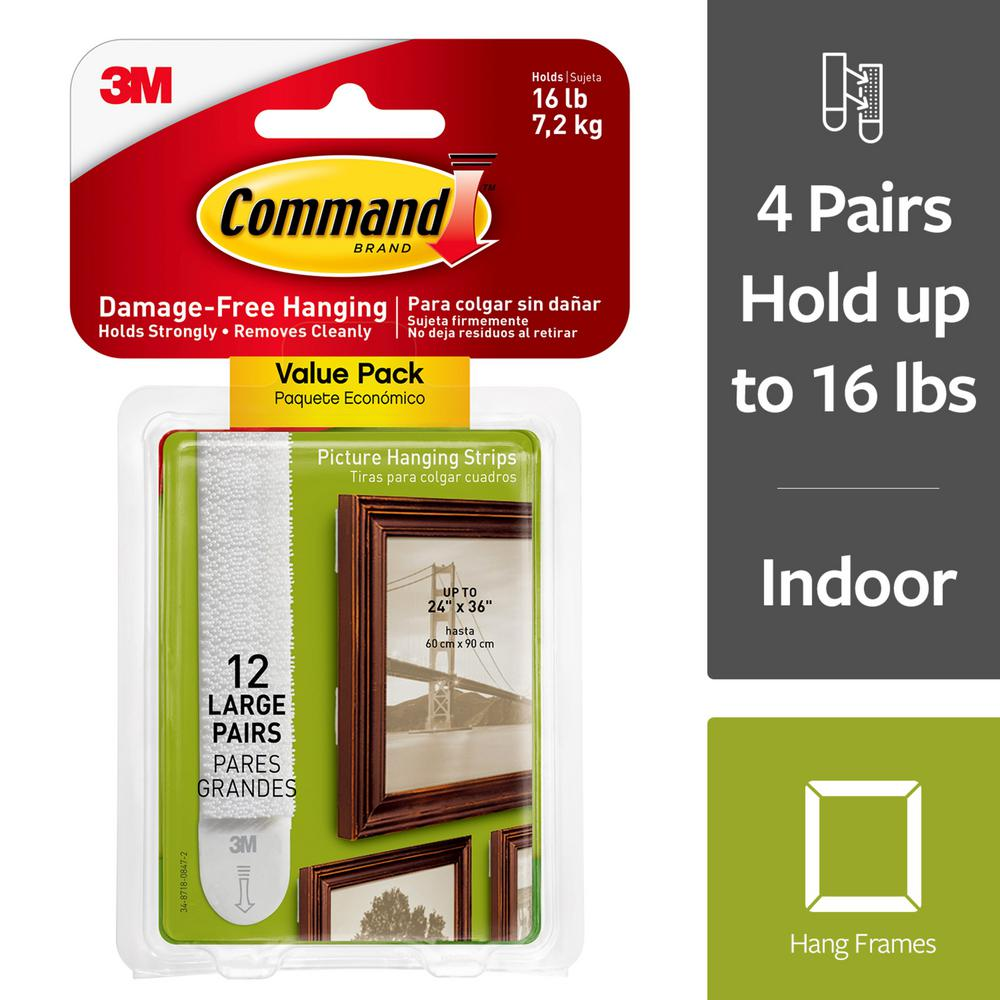 Office Depot Paris 16 Command Large White Picture Hanging Adhesive Strips 12 Adhesive