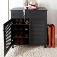 Baxton Studio Calvin Wood Shoe Storage Cabinet in Dark ...