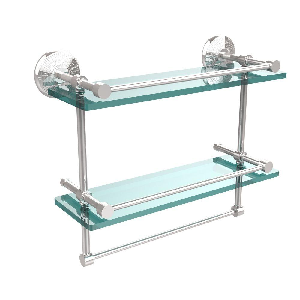 Bathroom Rack Allied Brass Monte Carlo 16 In L X 12 In H X 5 In W 2 Tier Clear Glass Bathroom Shelf With Towel Bar In Polished Chrome