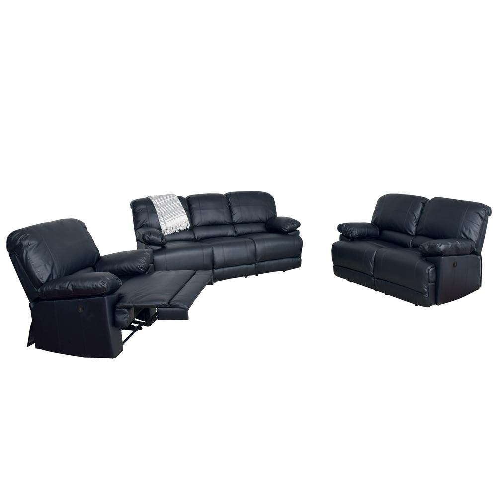 Electric Recliner Leather Chairs Corliving Lea 3 Piece Black Bonded Leather Power Recliner Sofa And Chair Set With Usb Port