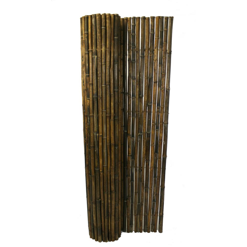 Rattan Rollo 1 In D X 6 Ft H X 8 Ft W Black Rolled Bamboo Fence