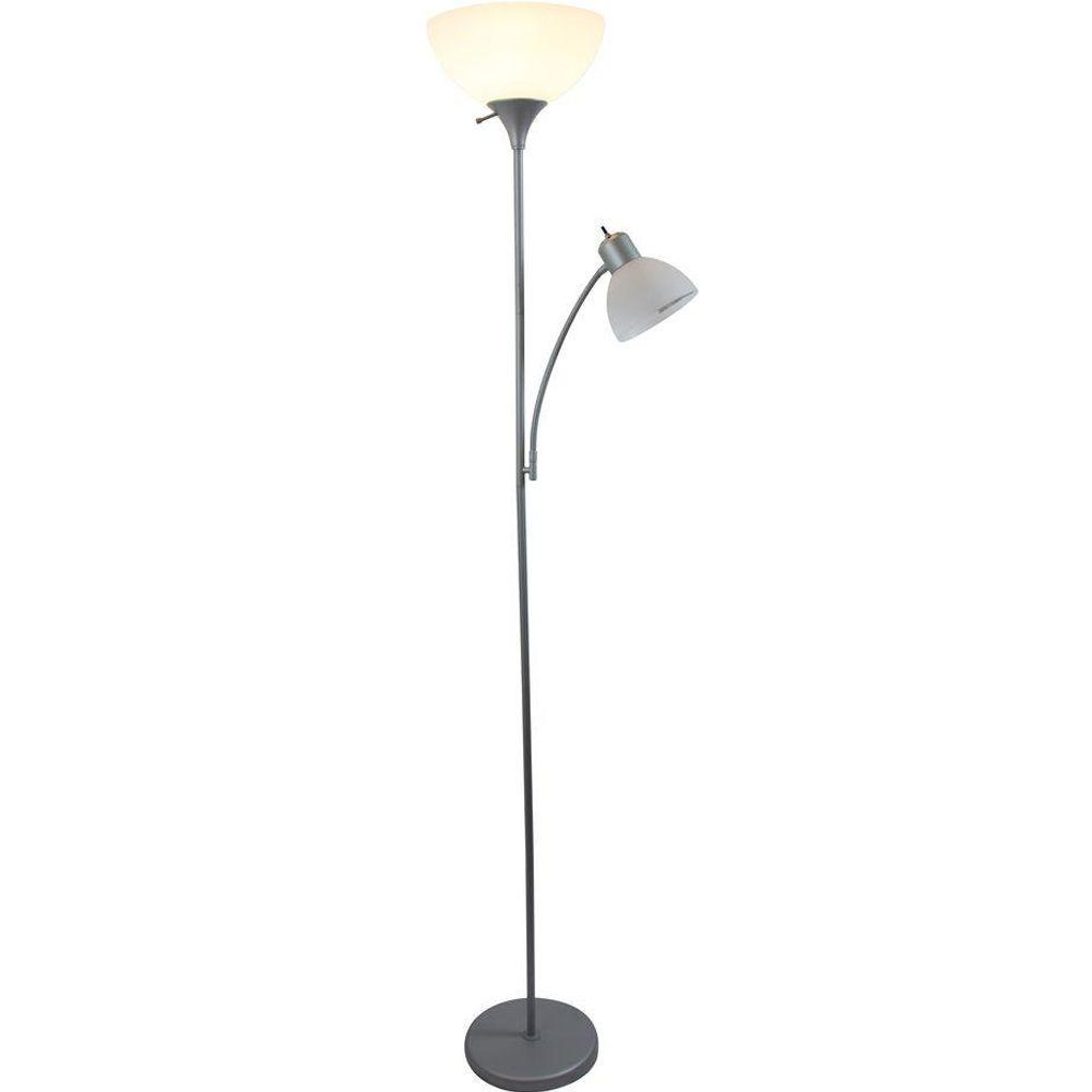 Lamp Slv Simple Designs 71 5 In Silver Mother Daughter Floor Lamp With Reading Light