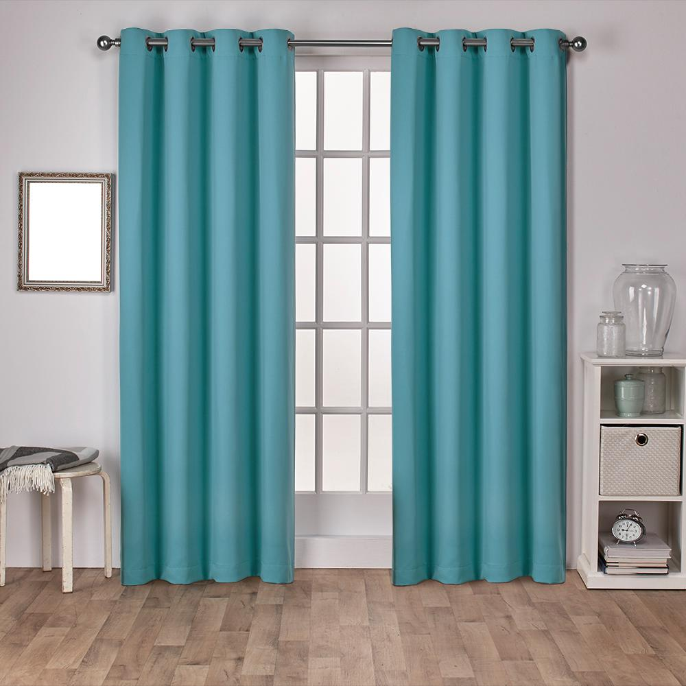 Teal Blackout Curtains Sateen 52 In W X 108 In L Woven Blackout Grommet Top Curtain Panel In Teal 2 Panels