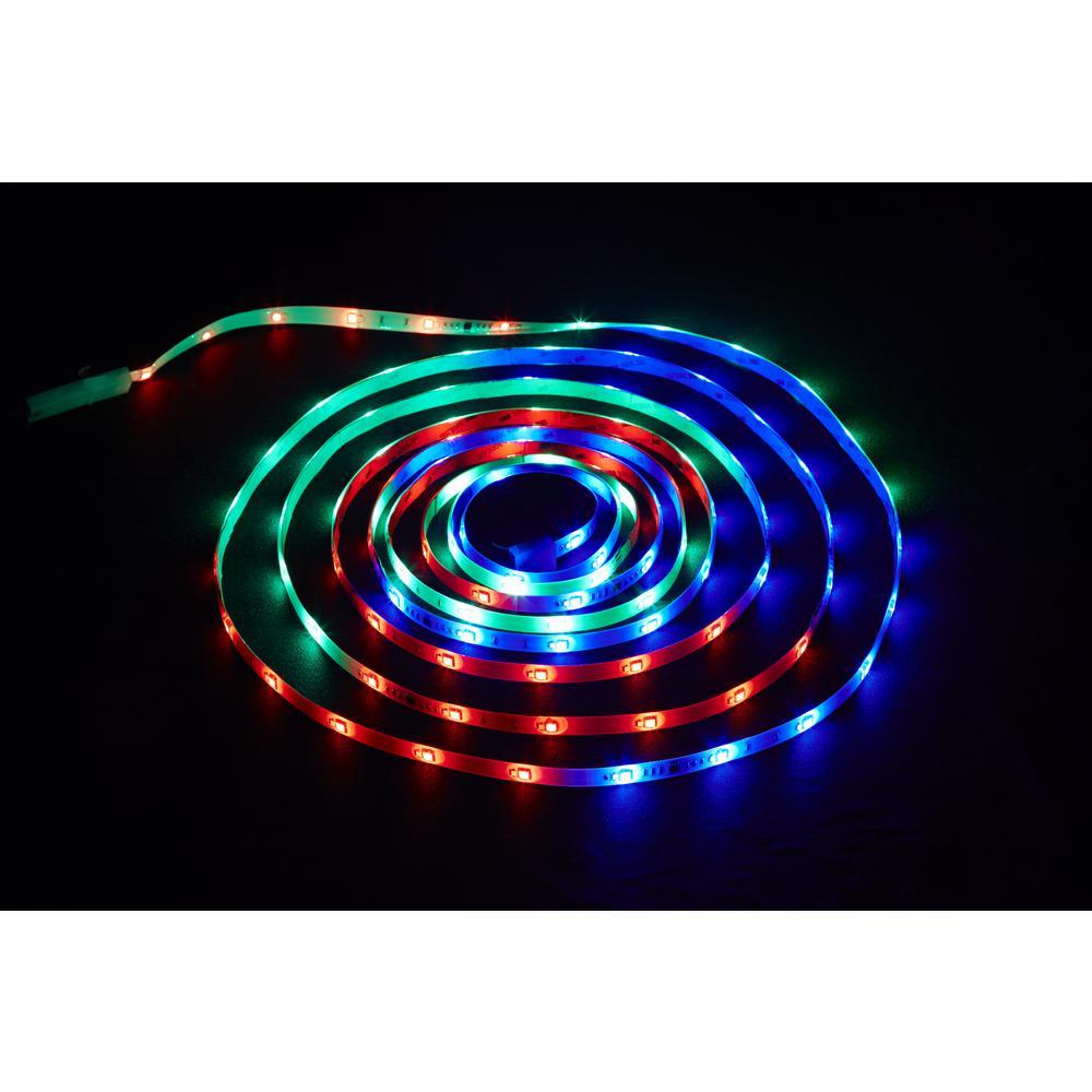 Lighting Rgb Commercial Electric 18 Ft Led Connectible Indoor Outdoor Color Changing White And Rgb Tape Light With Remote Control