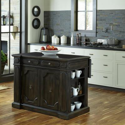 Home Styles Grand Torino Black Kitchen Island With Storage-5012-94 - The Home Depot