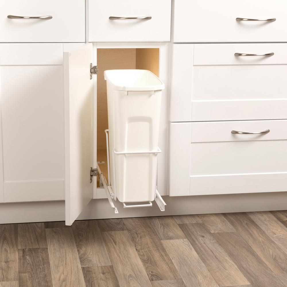 Cabinet Pull Out Trash Can 20 Qt Bin Can Track System