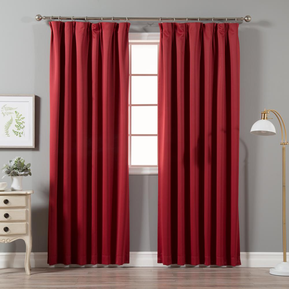 Box Pleat Curtains Best Home Fashion Cardinal Red 96 In L Blackout Pinch Pleat Curtain Panel 2 Pack