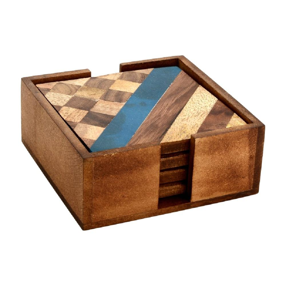 Wooden Coaster Holder Mascot Hardware 4 Piece Diagonal And Checkered Wood Coaster Set In Box
