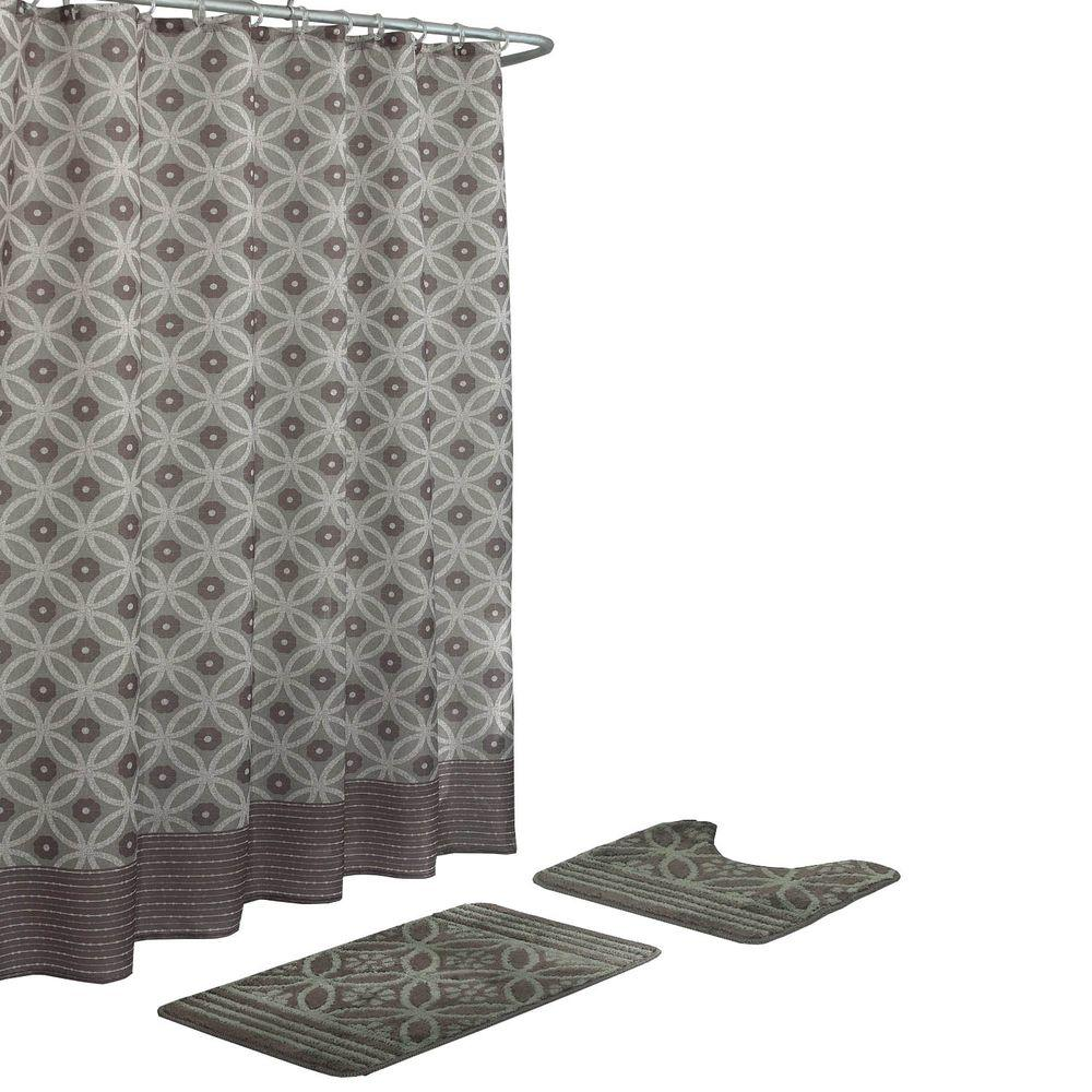Red And Black Shower Curtain Set Bath Fusion Hartford Barn Red Linen 15 Piece Bath Rug And Shower Curtain Set