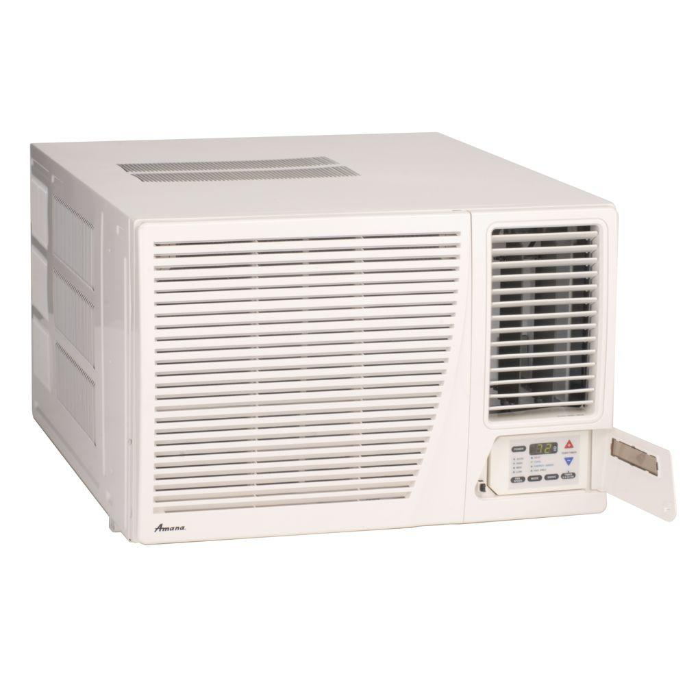 Amana 17 600 btu r 410a window air conditioner with 3 5 kw electric heat and remote ae183g35ax the home depot
