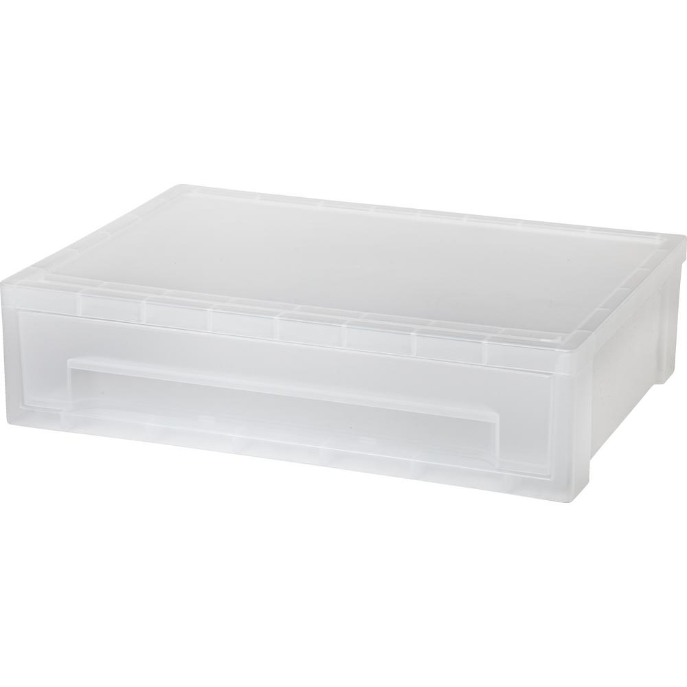 Desk Top Drawers Iris 13 81 In X 3 63 In Clear Desktop Letter Size Stacking Drawer